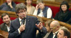 El presidente de la Generalitat, Carles Puigdemont, durante su intervención en el Parlamento catalán.