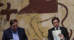 Oriol Junqueras y Carles Puigdemont, en una reunión del Govern.