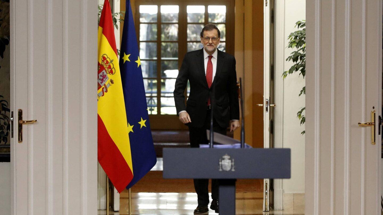 Mariano Rajoy, antes de su comparecencia.