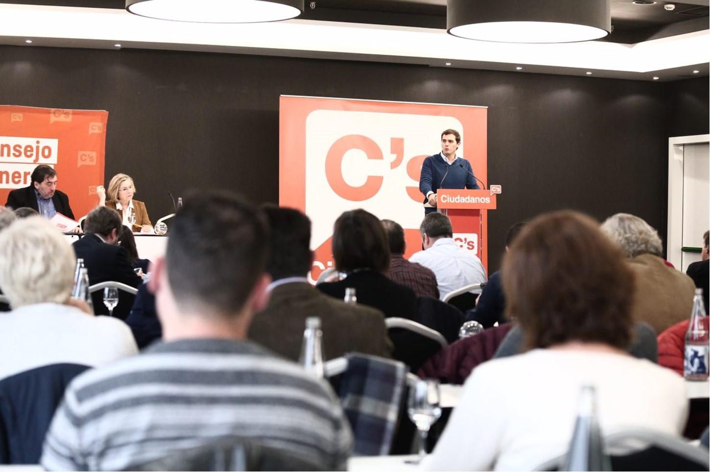 El presidente de Ciudadanos, Albert Rivera, en una intervención durante el Consejo General del partido.