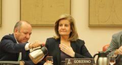 La ministra de Empleo, Fátima Báñez, antes de intervenir ante la Comisión de Empleo del Congreso de los Diputados.