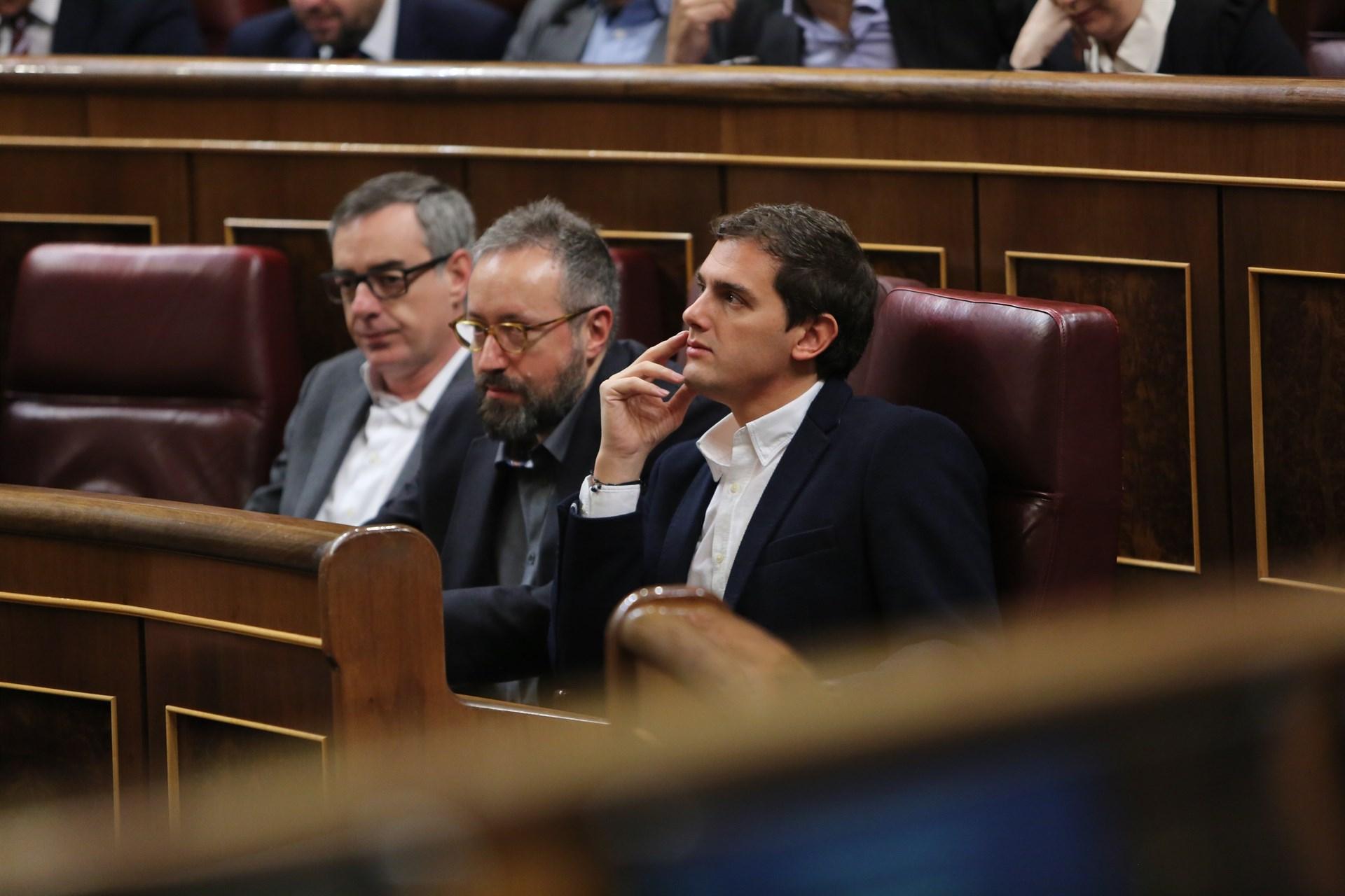 De izquierda a derecha, José Manuel Villegas, Juan Carlos Girauta y Albert Rivera, de Ciudadanos.