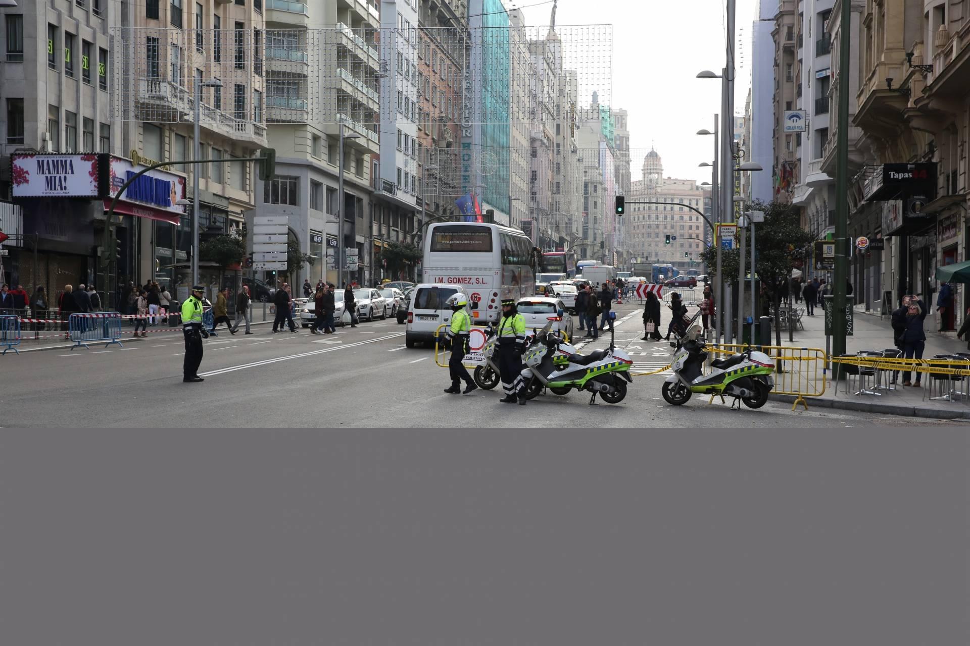 La madrileña calle de Gran Vía durante los cortes al tráfico, en diciembre de 2016..