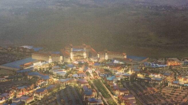 Maqueta del futuro complejo turístico Madrid Live Resort en Torres de la Alameda.