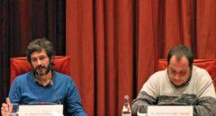 Oleguer Pujol (izquierda), en el Parlamento de Cataluña en el año 2015.