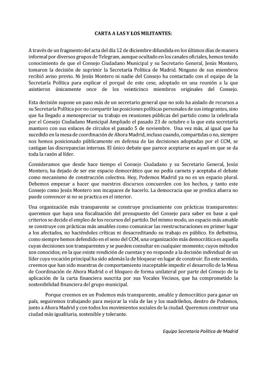Comunicado del equipo de la secretaría política de Podemos en la ciudad de Madrid.