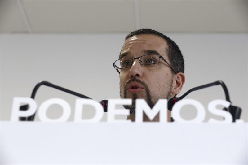 El ex secretario de organización de Podemos, Sergio Pascual, durante una comparecencia.