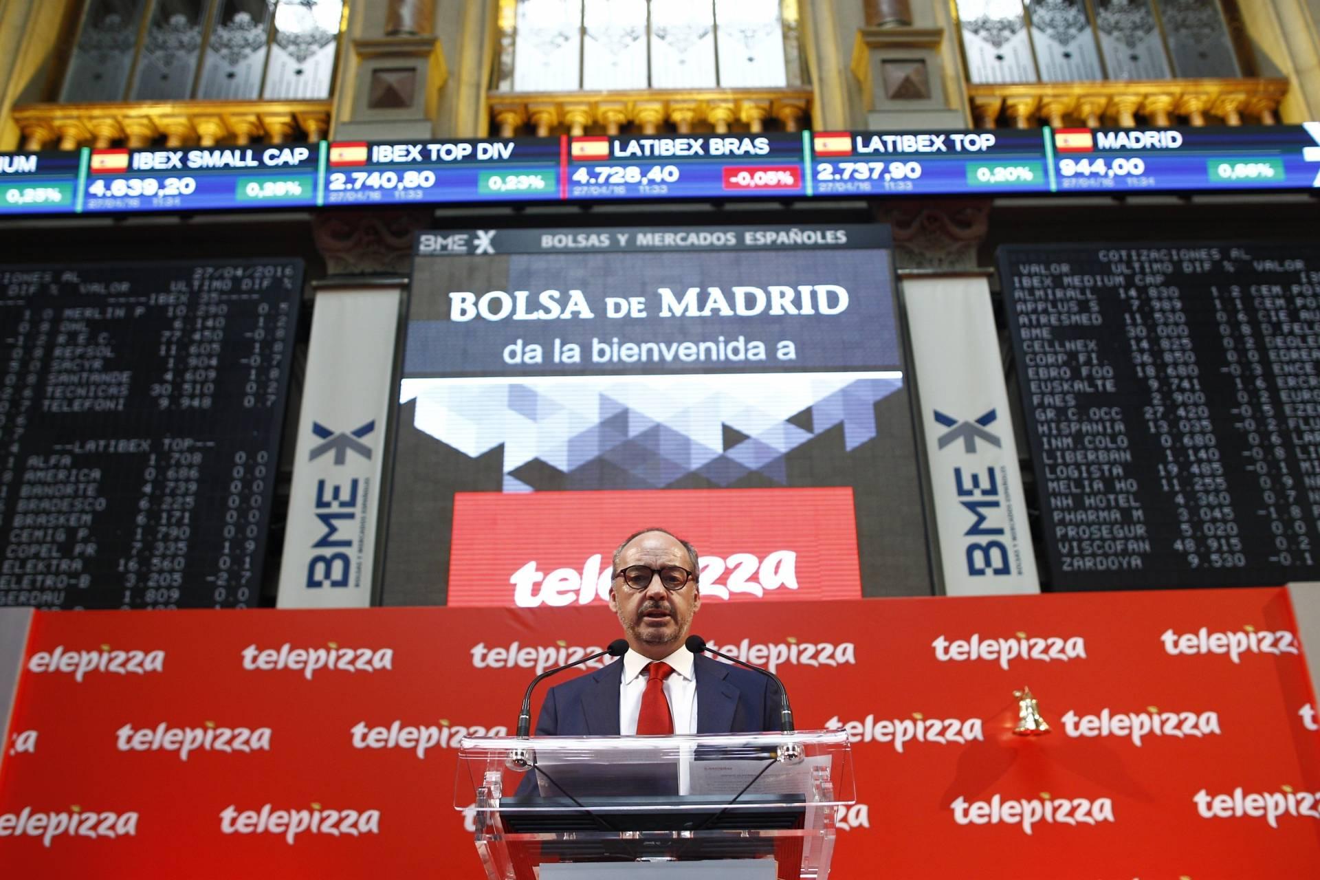 El presidente de Telepizza, Pablo Juantegui, durante la salida a bolsa de la compañía.