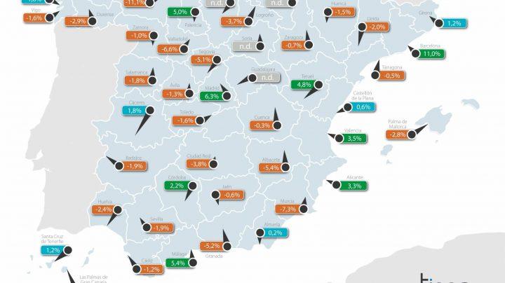 Variación interanual del valor del metro cuadrado en las capitales de provincia.