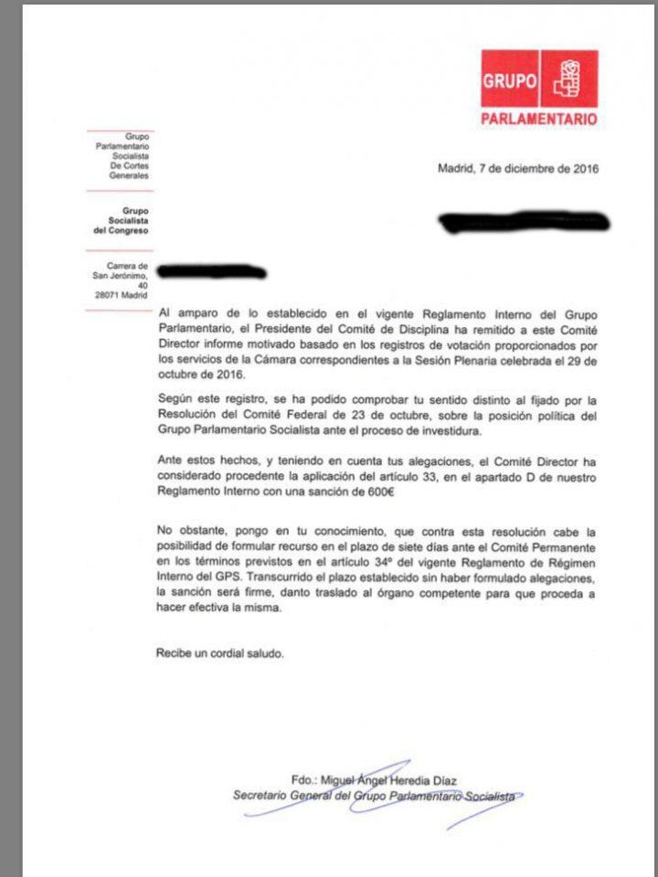 Carta del PSOE a los díscolos que mantuvieron su no a Rajoy en la investidura.