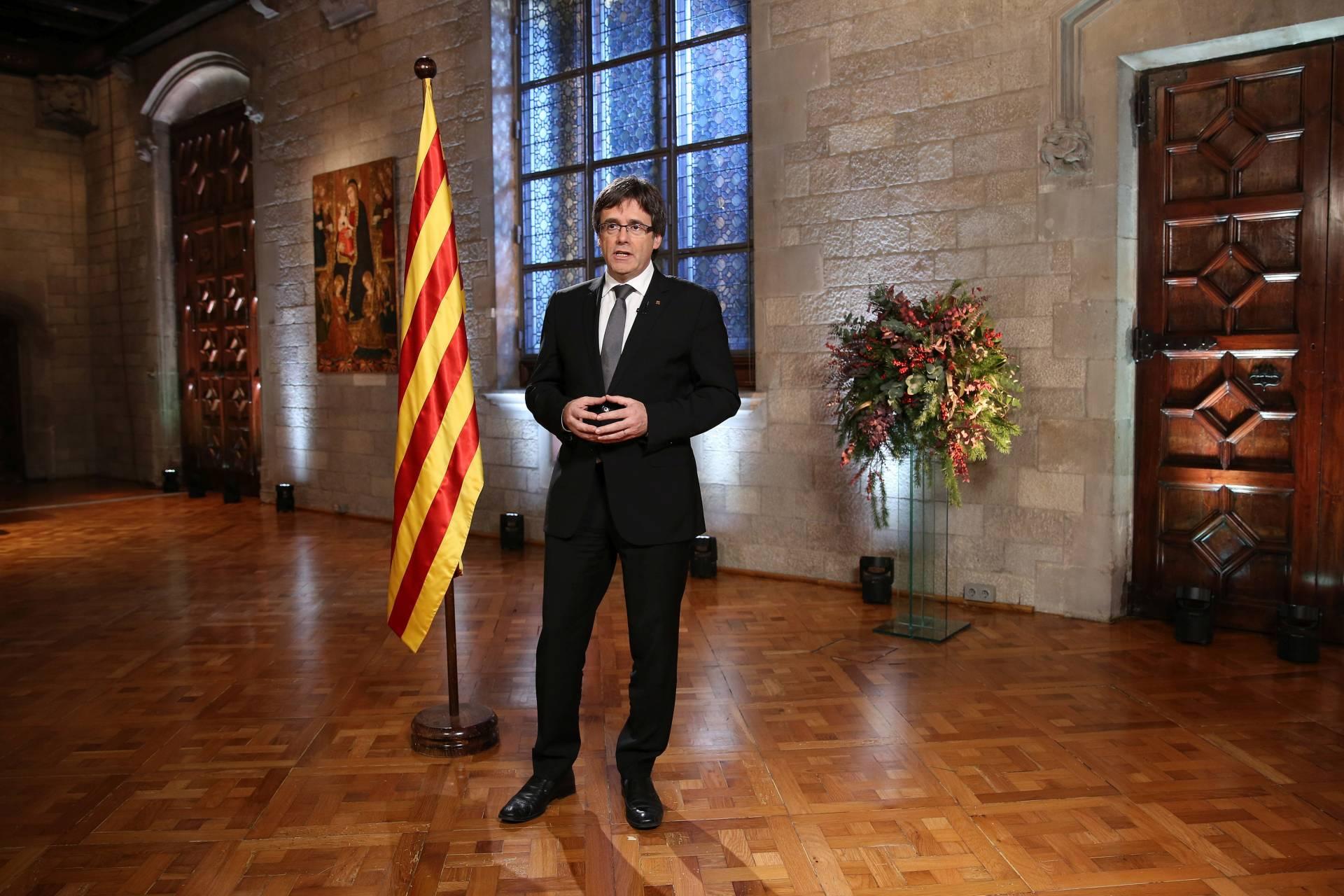 Carles Puigdemont, durante su alocución.