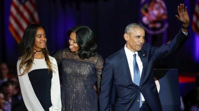 El presidente Barack Obama, junto a Michelle y su hija, en Chicago.