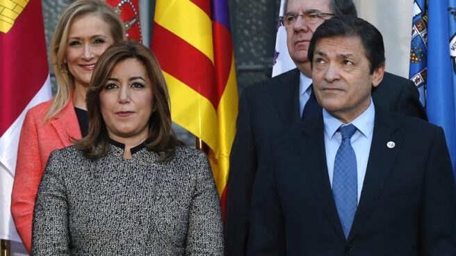 Javier Fernández y Susana Díaz, durante la conferencia.