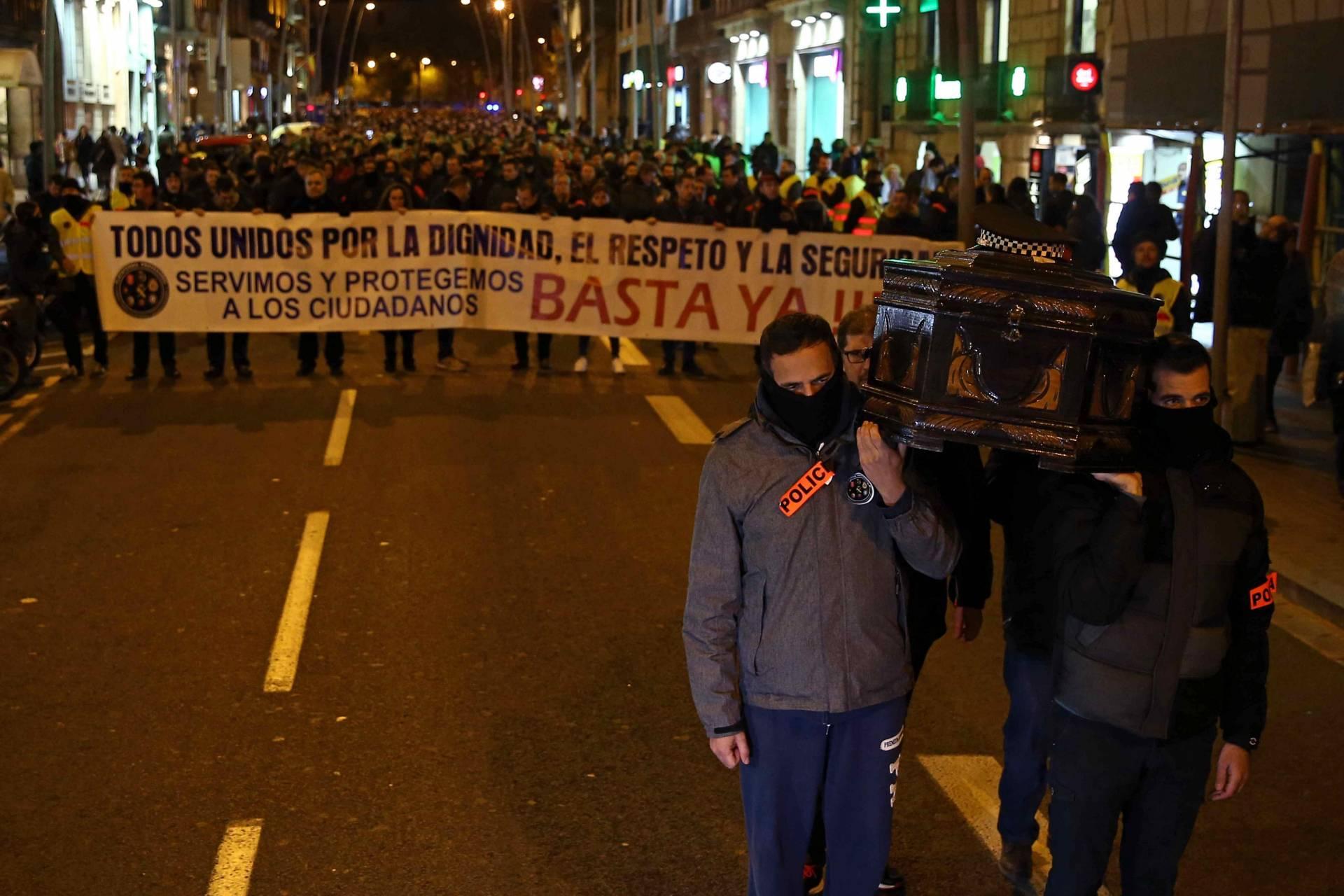 Manifestación de policías en Barcelona.