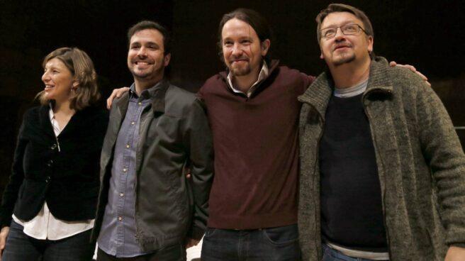 Alberto Garzón, junto a Yolanda Díaz, Pablo Iglesias y Xavi Doménech.