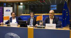 Oriol Junqueras, Carles Puigdemont y Raül Romeva, durante la intervención.