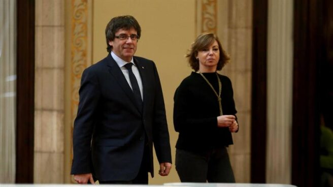Carles Puigdemont y Meritxell Borràs.