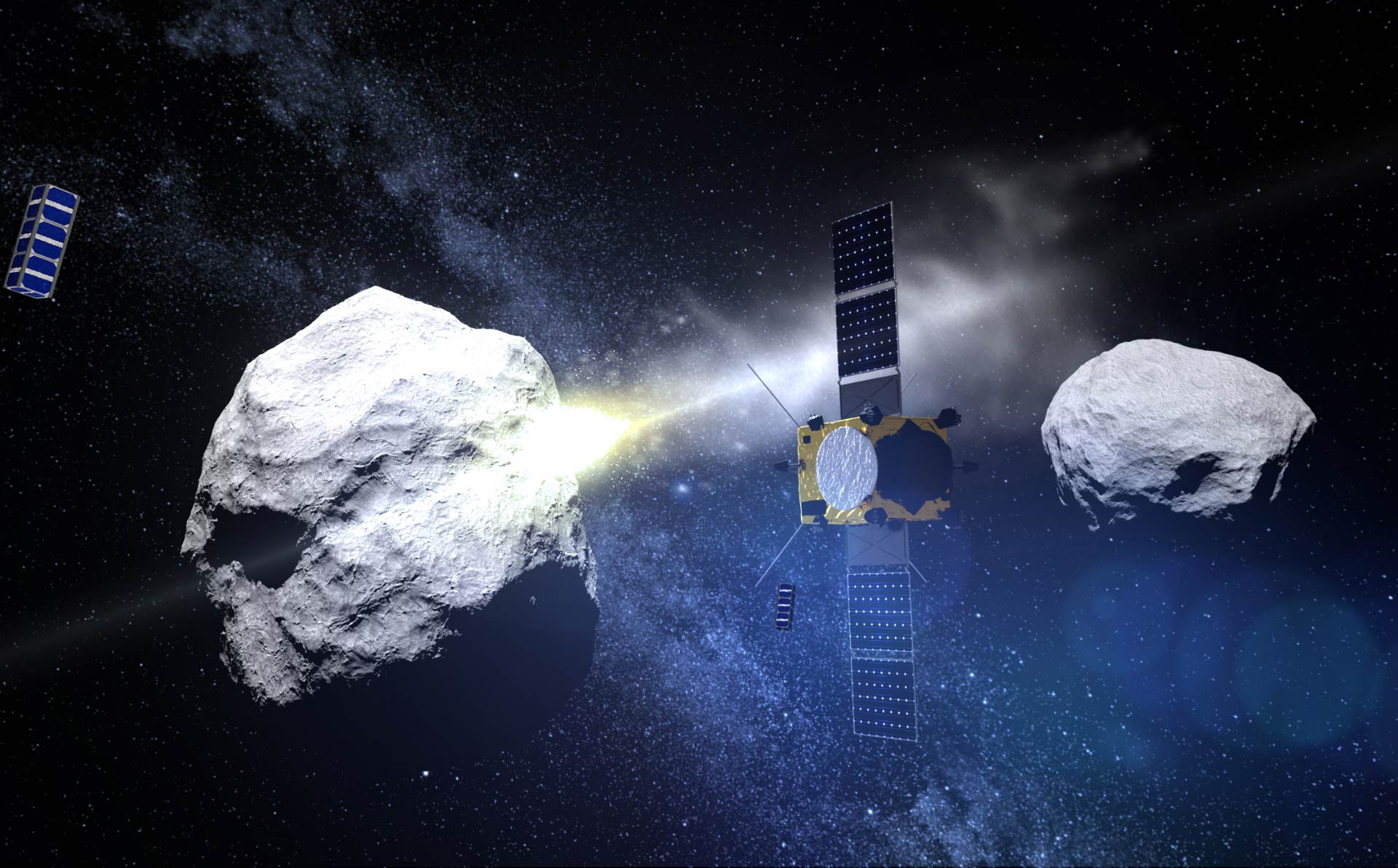 Figuración del impacto en el asteroide Didymos