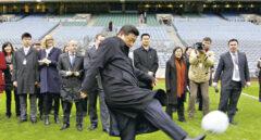 El presidente de China, Xi Jinping, durante la inauguración de la Escuela Nacional de Fútbol.