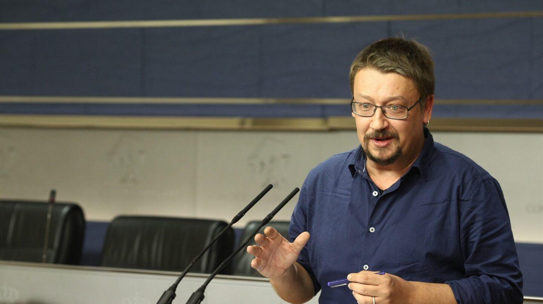 El portavoz de En Comú Podem en el Congreso, Xavier Doménech, durante su comparecencia.