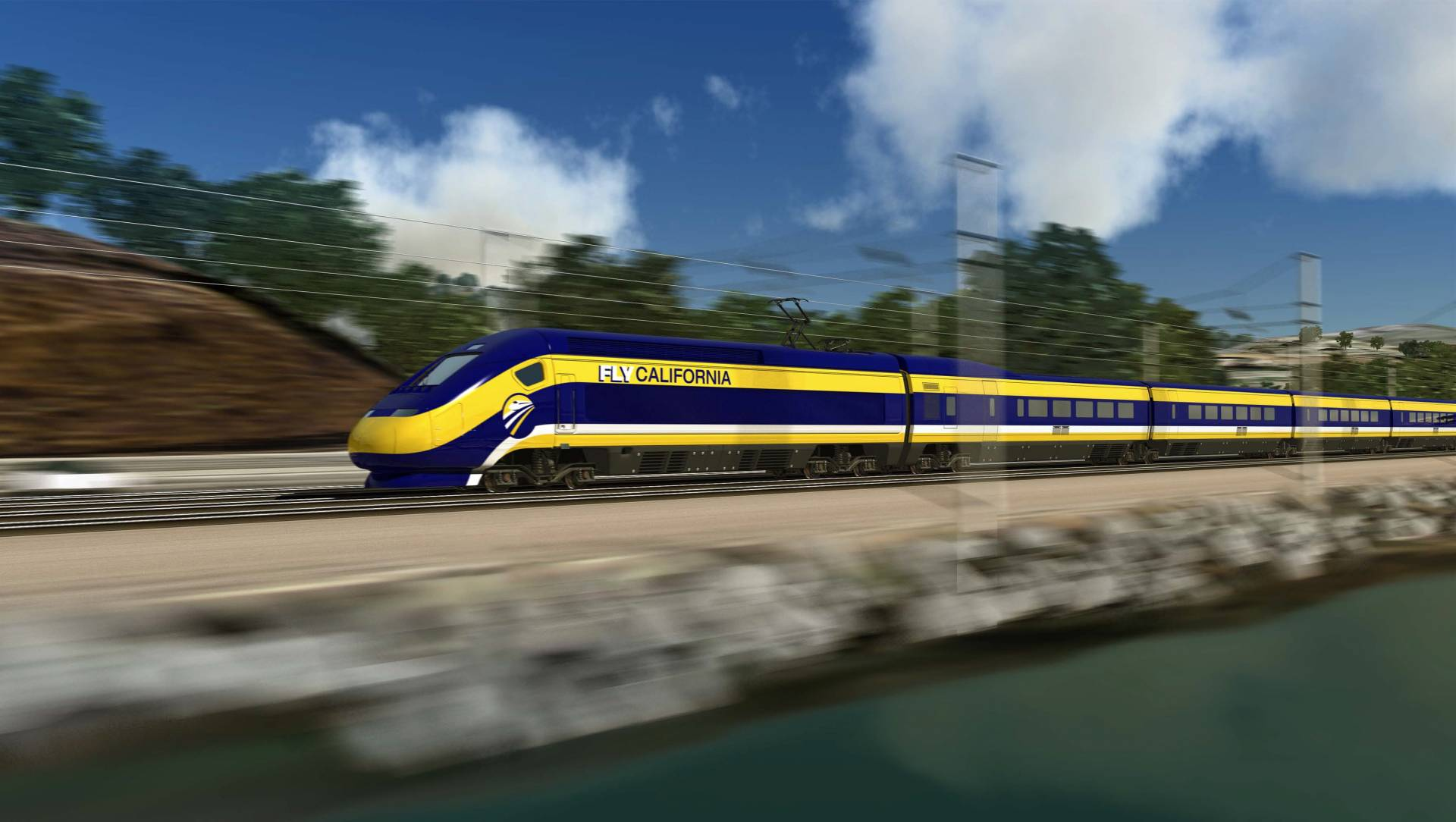 Recreación virtual de uno de los trenes que surcarán 1.300 kilómetros íntegramente en California.