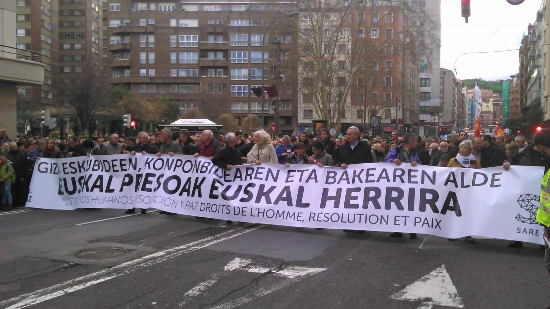 Manifestación en favor de los presos de ETA, en Sare, en 2016.