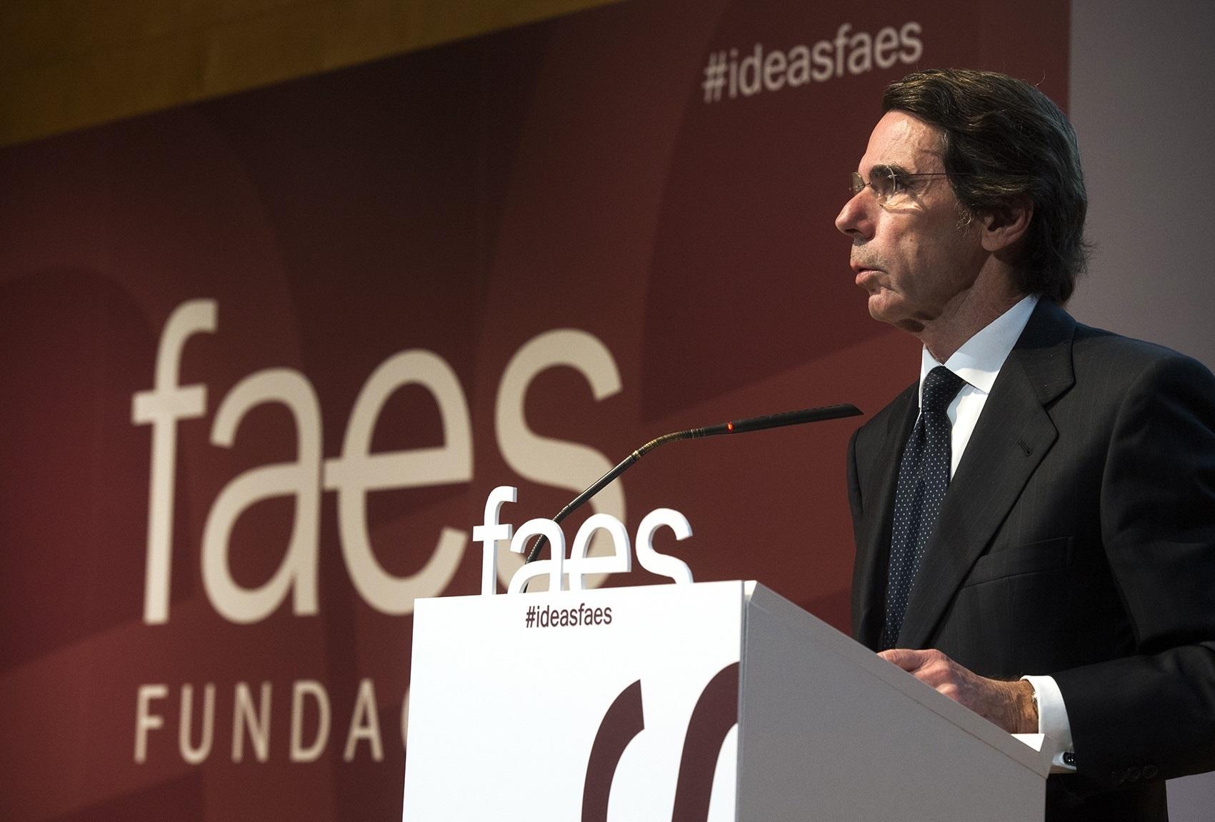 Aznar, el pasado jueves en un acto de FAES.