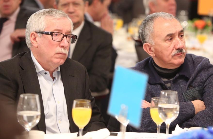 Los secretarios generales de CCOO y UGT, Ignacio Fernández Toxo y Pepe Álvarez.