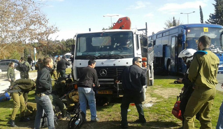 El camión utilizado en el atentado de Jerusalén.