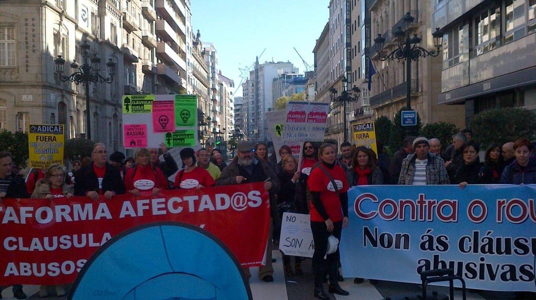 Protestas de afectados por las cláusulas suelo.
