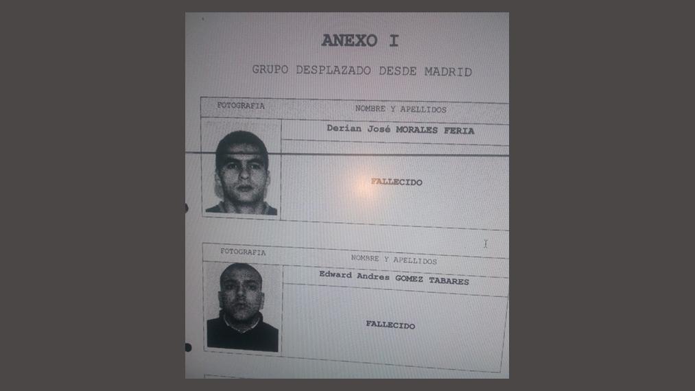 Los colombianos asesinados en la finca de Los Naranjos.