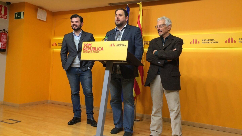 Los miembros de ERC Gabriel Rufián, Oriol Junqueras, Santiago Vidal.