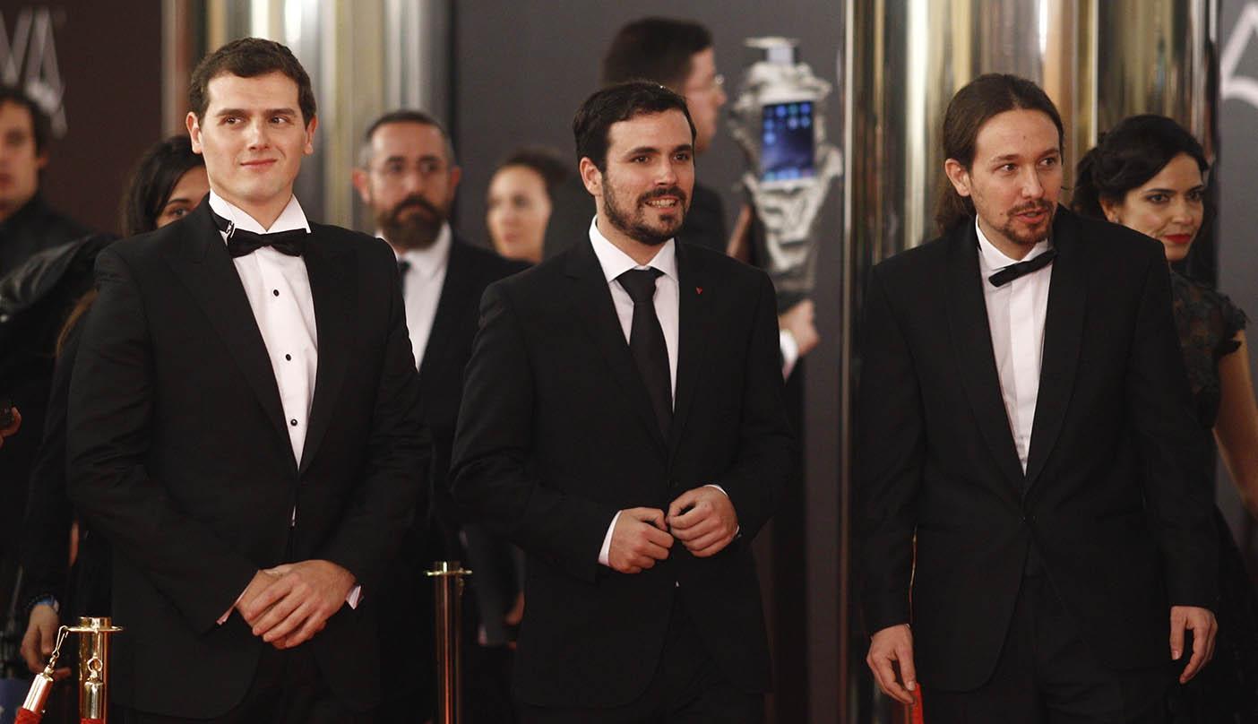 Albert Rivera, Alberto Garzón y Pablo Iglesias en la gala de los premios Goya.