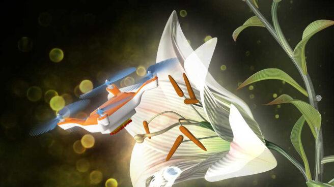 Abejas robot recogiendo polen de un lirio