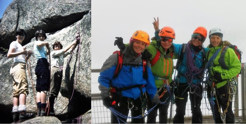 A la izquierda, Mari Carmen Arribas (primera por la derecha) en un curso de escalda en La Pedriza en los años sesenta. En la imagen de la derecha, Miriam Marco, (segunda por la derecha) con clientas en una actividad invernal, en la actualidad.