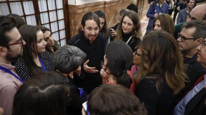 Pablo Iglesias, en los pasillos del Congreso.