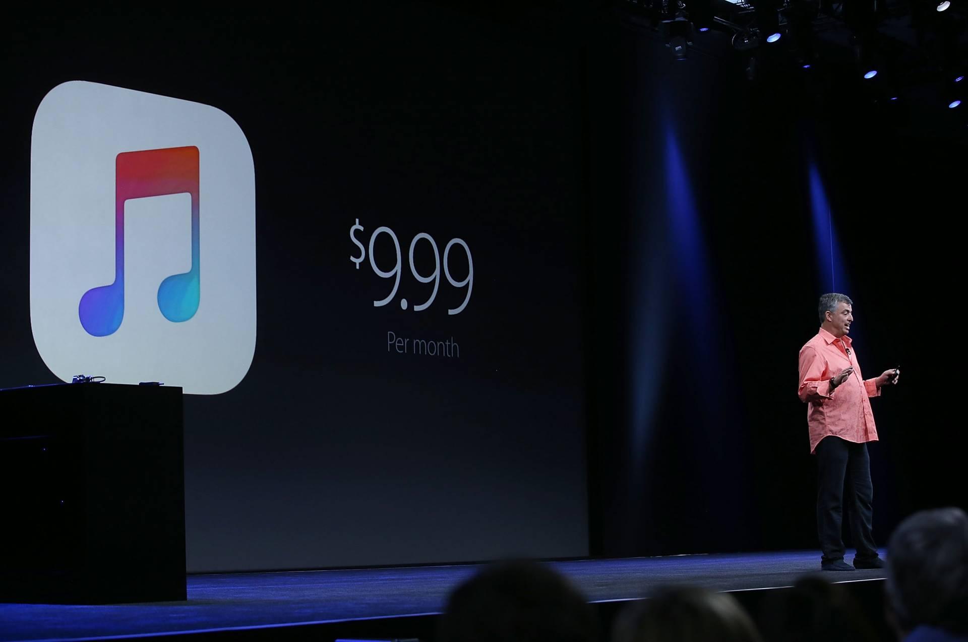 El vicepresidente de Apple, Eddy Cue, durante una presentación de Apple Music.