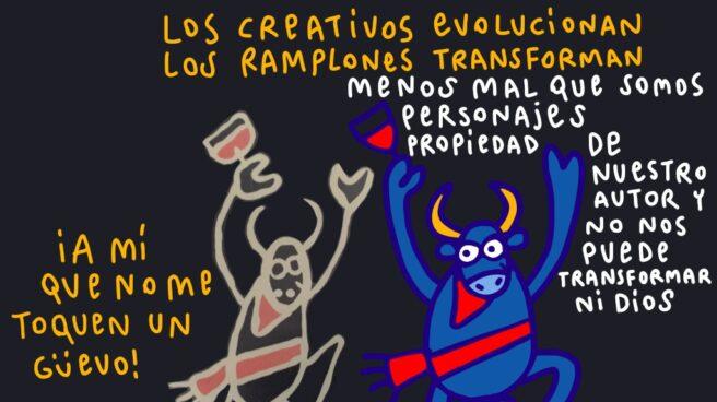 """Kukuxumusu """"El toro de 1990 es un extracto del cartel que gané en 1990 para anunciar las fiestas de San Fermín. Un trabajo de autor, donde ya vemos a Mister Testis. En 2017 dibujo otro toro en la misma posición, que no es sino una evolución del propio Testis. No es un plagio ni una transformación"""", señala Urmeneta."""