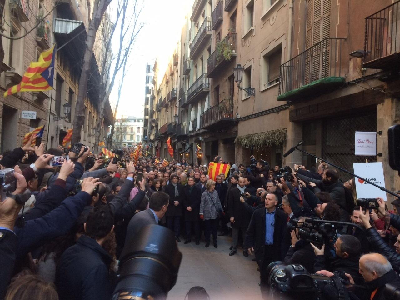 Artur Mas y Carles Puigdemont, este lunes en Barcelona.