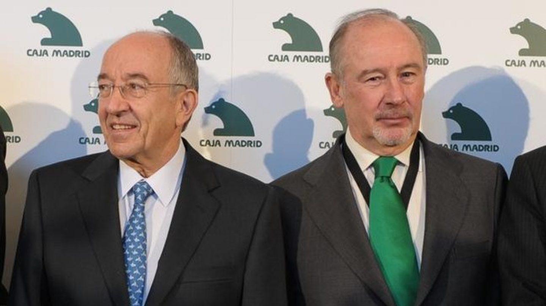 El ex gobernador del Banco de España, Miguel Ángel Fernández Ordóñez, junto al ex presidente de Bankia, Rodrigo Rato.