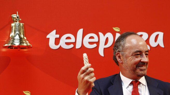 Pablo Juantegui, presidente y consejero delegado de Telepizza, el día del debut en bolsa.