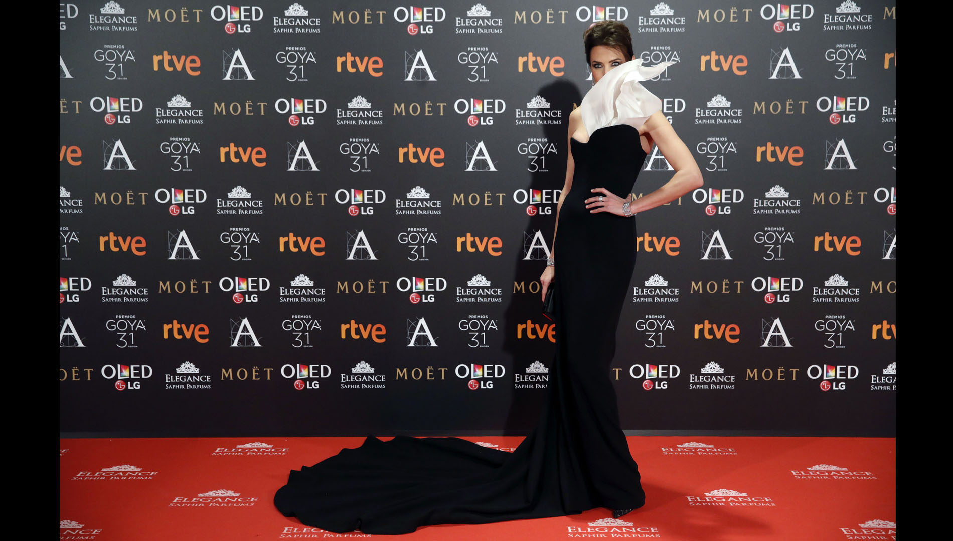 La modelo y presentadora es la musa del diseñador Stephane Rolland. La modelo se presentó en la alfombra roja con un deslumbrante vestido de este creador francés.