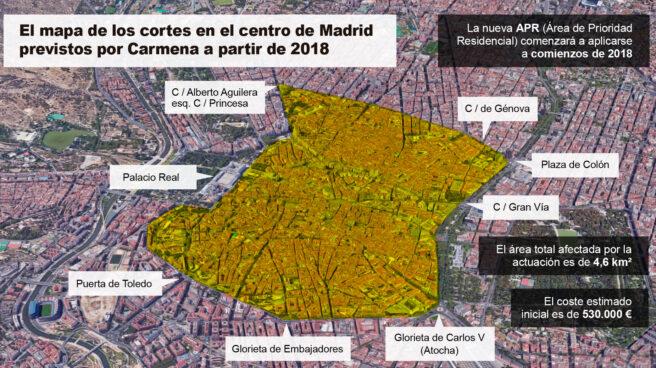 El área afectada por Madrid Central será más o menos así.