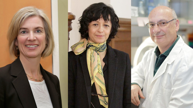 J. Doudna, E. Charpentier, F. Mojica, creadores del corta-pega genético CRISPR Cas9