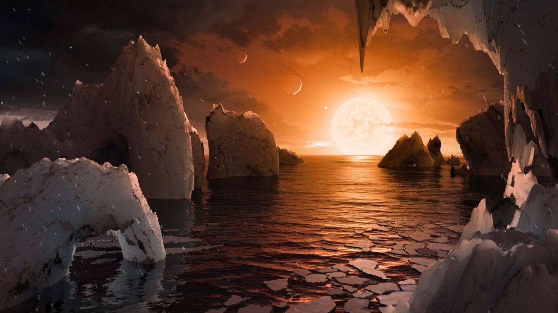 Interpretación de laposible apariencia de la superficie del exoplaneta TRAPPIST-1f.