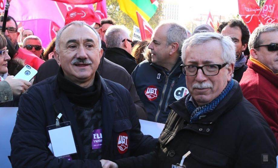 Los secretarios generales de UGT y CCOO, Pepe Álvarez e Ignacio Fernández Toxo, juntos en una manifestación.