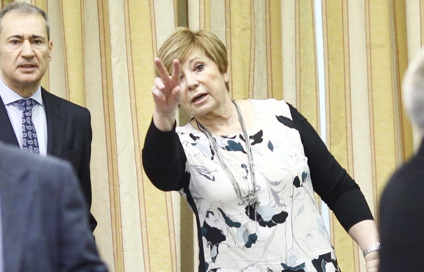 La presidenta del Pacto de Toledo, Celia Villalobos, en el Congreso de los Diputados.