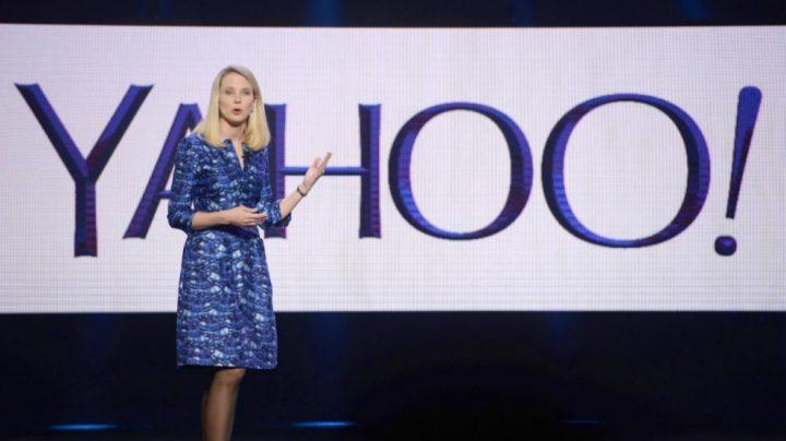 La CEO de Yahoo, Marissa Meyer, durante una presentación de la compañía.