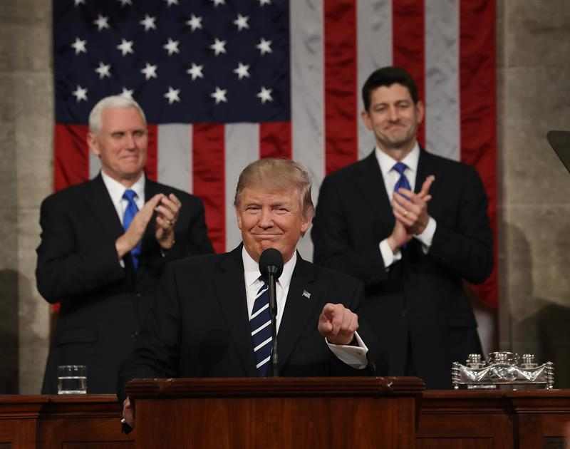 El presidente de EEUU, Donald Trump, durante su alocución ante los congresistas de las dos cámaras, en Washington.