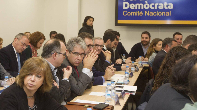 Reunión del comité nacional del PDCAT, celebrado este lunes en su sede de Barcelona.